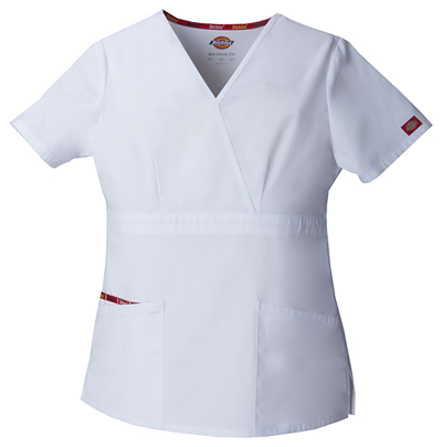 Dickies EDS Signature Women's Mock Wrap Top White