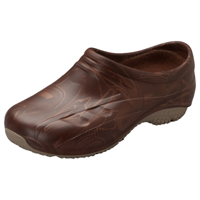 Anywear Medical Footwear Unisex Slip Resistant Injected Closed Back Clog Brown Swirl