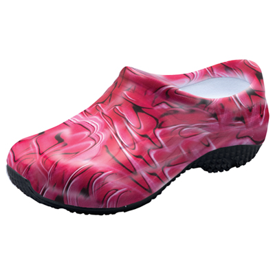 Anywear Medical Footwear Unisex Slip Resistant Injected Closed Back Clog Red Swirl