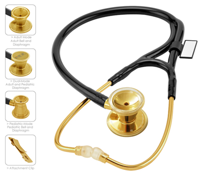 MDF Unisex MDF ER Premier Stethoscope Gold Edition Yellow