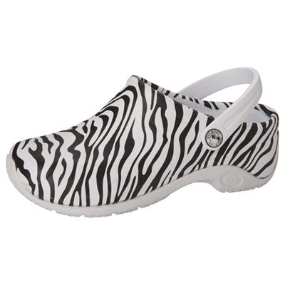 Anywear Medical Footwear Unisex Anywear Injected Clog w/Backstrap Zebra Print