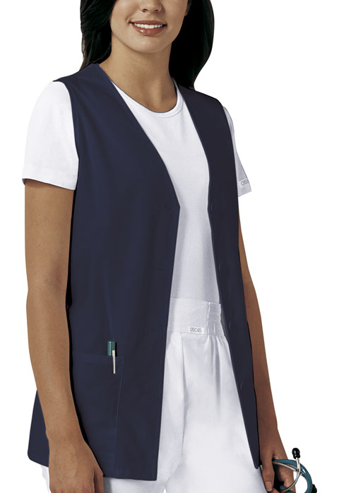 Fashion Solids Women Button Front Vest Blue