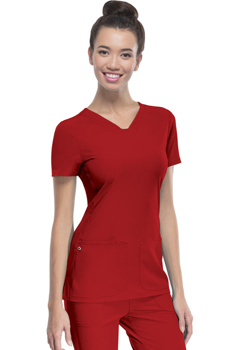 """Pitter-Pat"" Shaped V-Neck Top in Red from Heart Soul Scrubs"