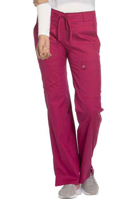 Cherokee Cherokee Luxe Women's Low Rise Flare Leg Drawstring Cargo Pant Red
