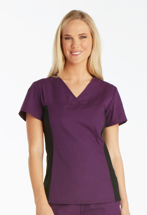 Cherokee Cherokee Flexibles Women's V-Neck Knit Panel Top Purple