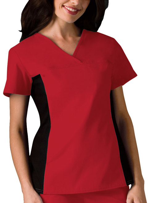 Flexibles Women V-Neck Knit Panel Top Red
