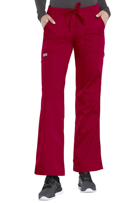 WW Originals Women's Low Rise Drawstring Cargo Pant Red