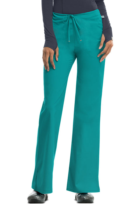 Code Happy Bliss Women's Mid Rise Moderate Flare Drawstring Pant Green