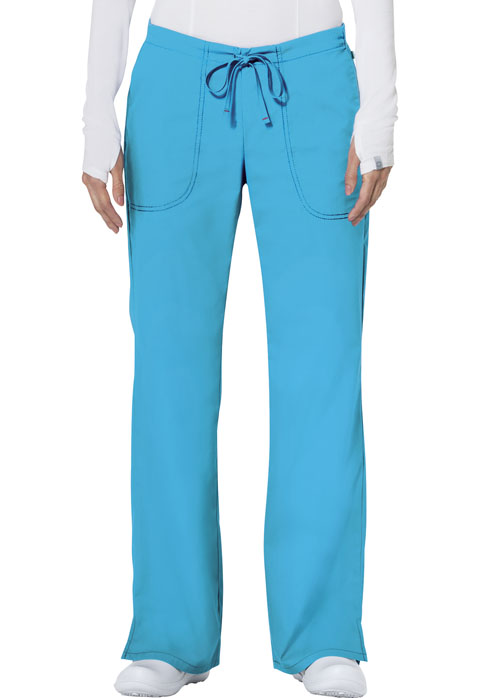Code Happy Code Happy Bliss Women's Mid Rise Moderate Flare Drawstring Pant Blue