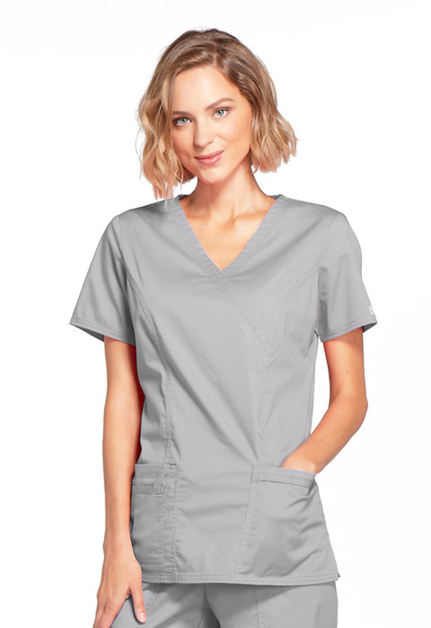 fca444ad56e WW Core Stretch Mock Wrap Top in Grey 4728-GRYW from Cherokee Scrubs ...