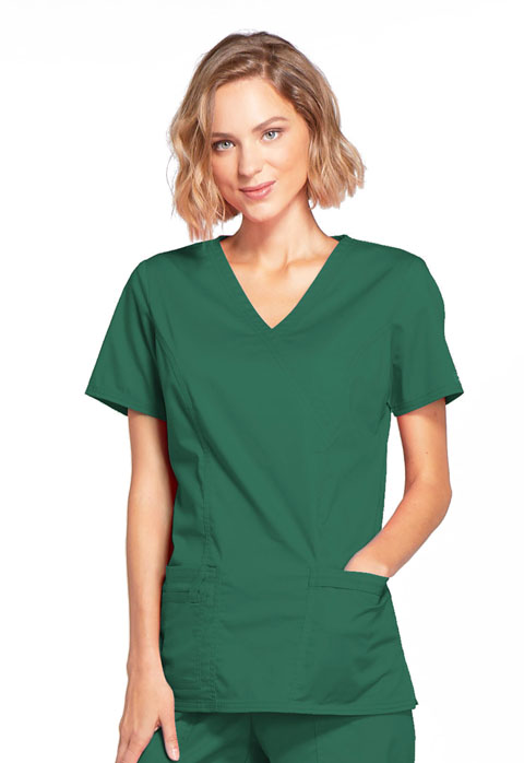 WW Core Stretch Women Mock Wrap Top Green