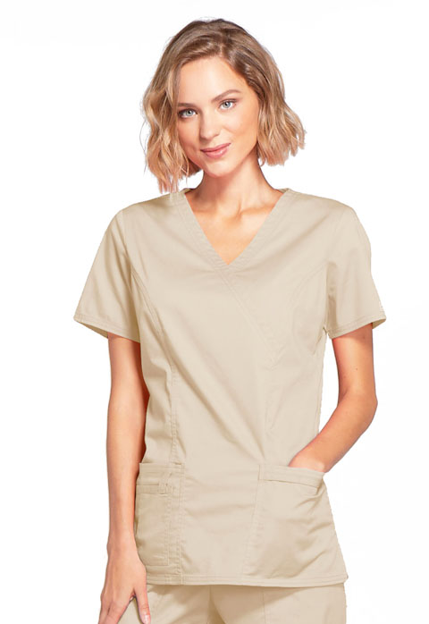 WW Core Stretch Women Mock Wrap Top Khaki