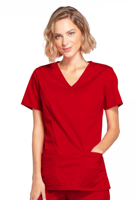WW Core Stretch Women Mock Wrap Top Red
