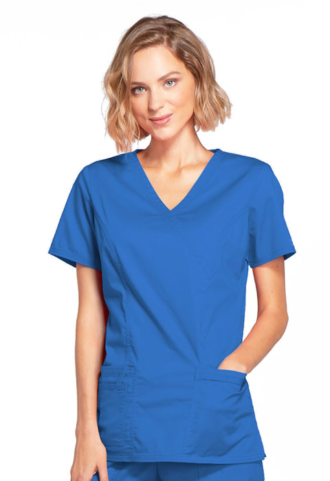 WW Core Stretch Women Mock Wrap Top Blue