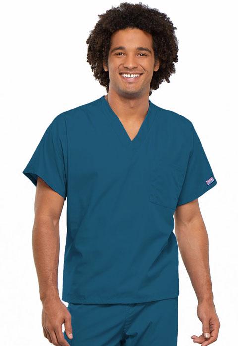 Uni V Neck Tunic In Caribbean Blue