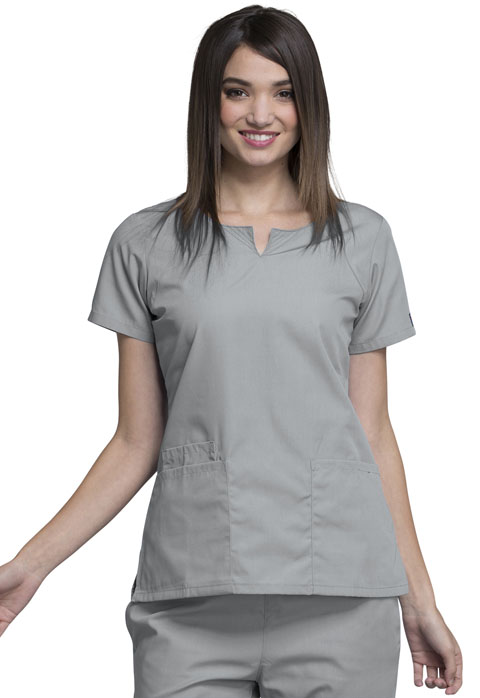 Cherokee Workwear WW Originals Women's Round Neck Top Gray