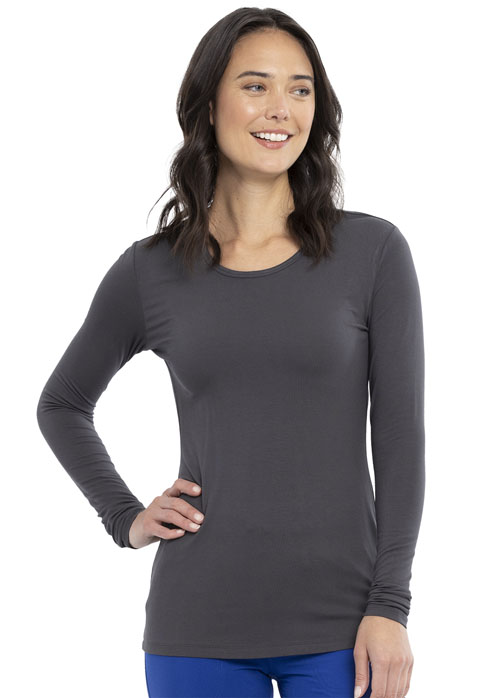 Cherokee Workwear WW Originals Women's Long Sleeve Underscrub Knit Tee Gray