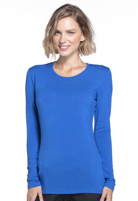 WW Originals Women's Long Sleeve Underscrub Knit Tee Blue