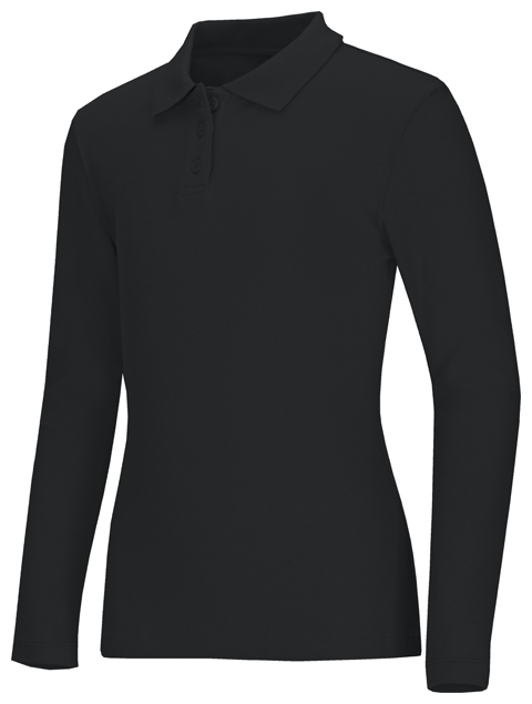Classroom Uniforms Classroom Junior's Junior Long Sleeve Fitted Interlock Polo Black