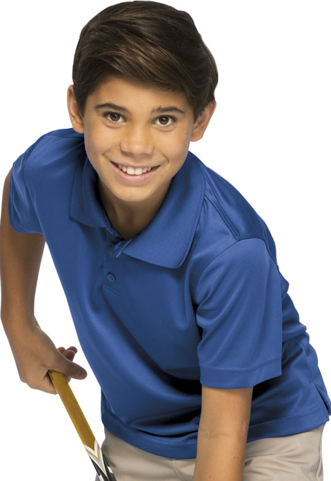Classroom Child's Unisex Youth Unisex Moisture-Wicking Polo Shirt Blue