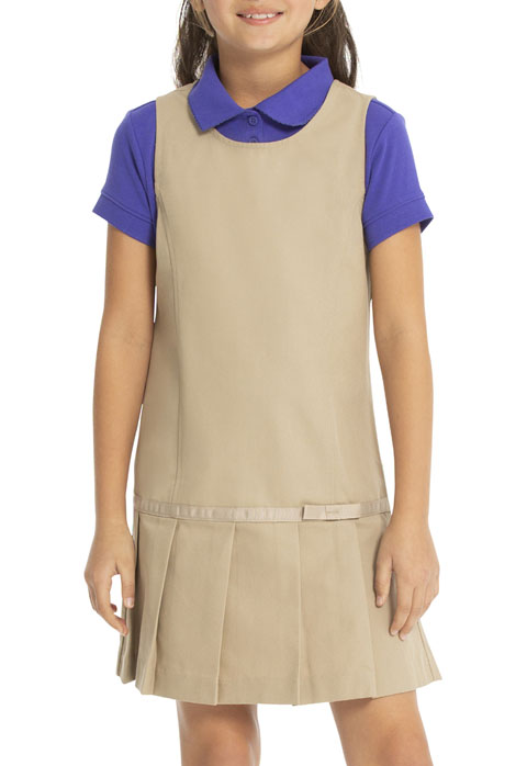 Real School Uniforms Girl's Drop Waist Jumper w/Ribbon Bow Khaki