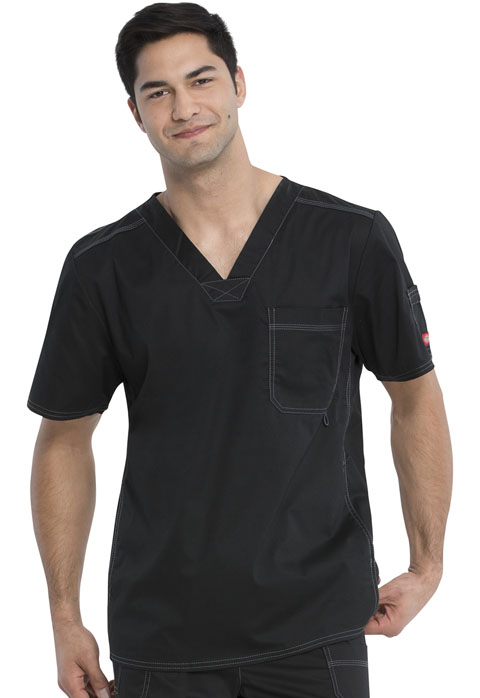 Dickies Gen Flex Men's V-Neck Top in Black