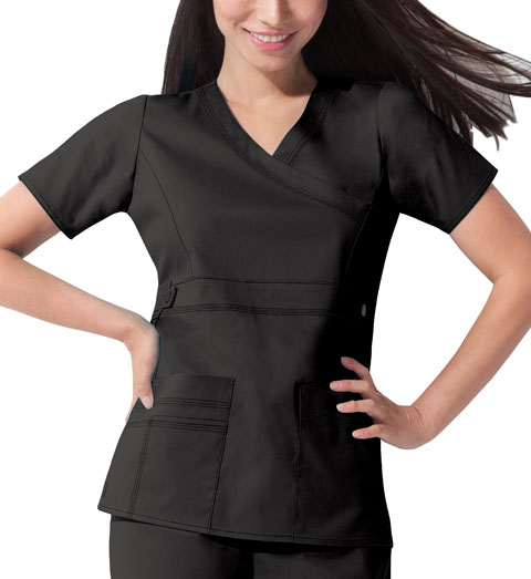 Dickies Gen Flex Mock Wrap Top in Black