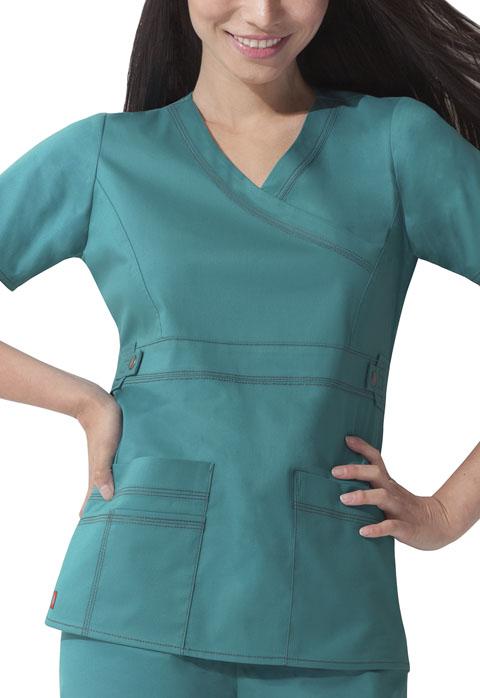 Dickies Gen Flex Mock Wrap Top in Teal