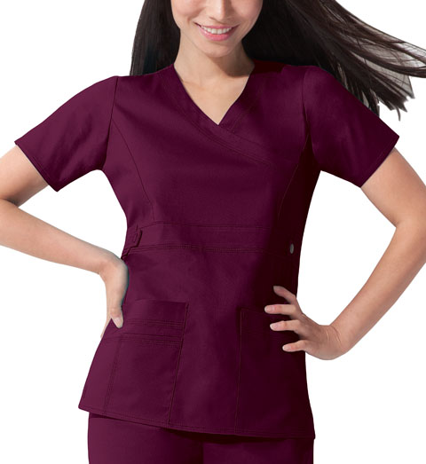 Dickies Gen Flex Mock Wrap Top in D-Wine