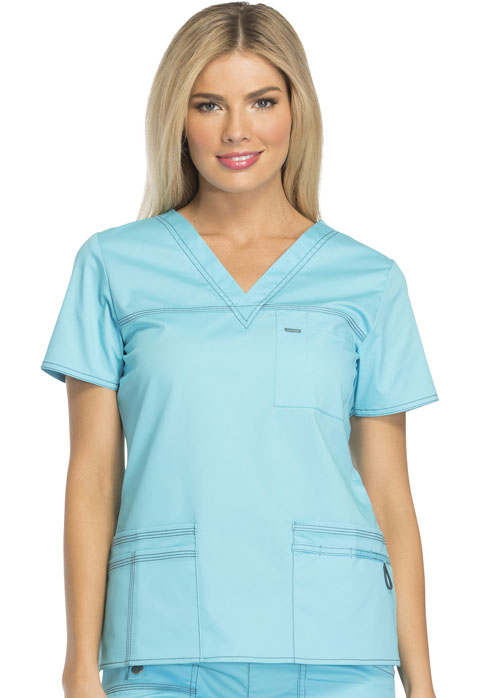 Dickies Gen Flex V-Neck Top in Icy Turquoise