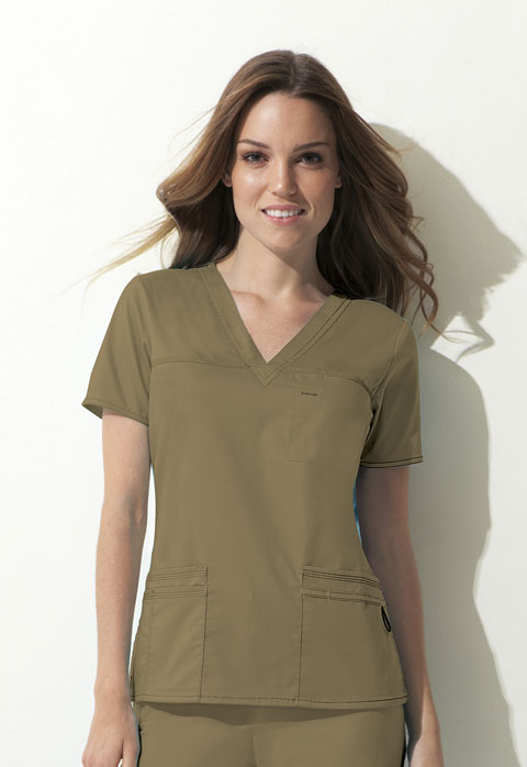 Dickies Gen Flex V-Neck Top in Dark Khaki
