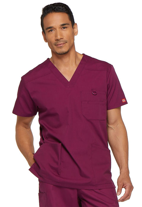 Dickies EDS Signature Men's V-Neck Top in Wine