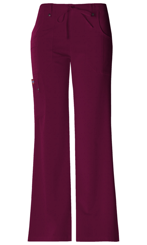 Dickies Xtreme Stretch Mid Rise Drawstring Cargo Pant in D-Wine