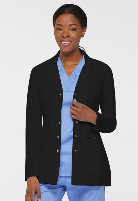 "Dickies Xtreme Stretch 28"" Snap Front Lab Coat in Black"