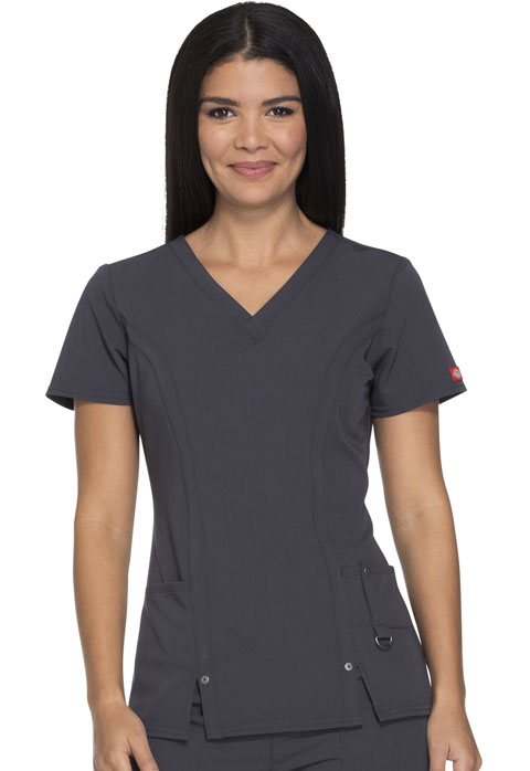 Dickies Xtreme Stretch V-Neck Top in Light Pewter