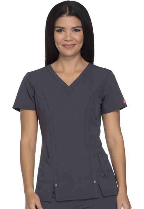 Dickies Xtreme Stretch V-Neck Top in Pewter