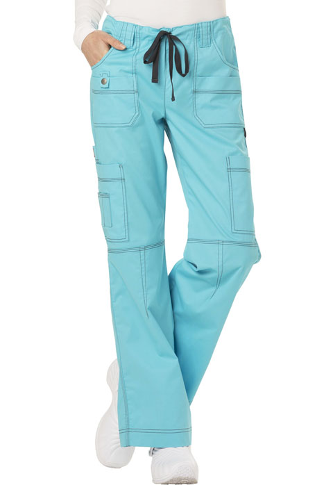 Dickies Gen Flex Low Rise Drawstring Cargo Pant in Icy Turquoise