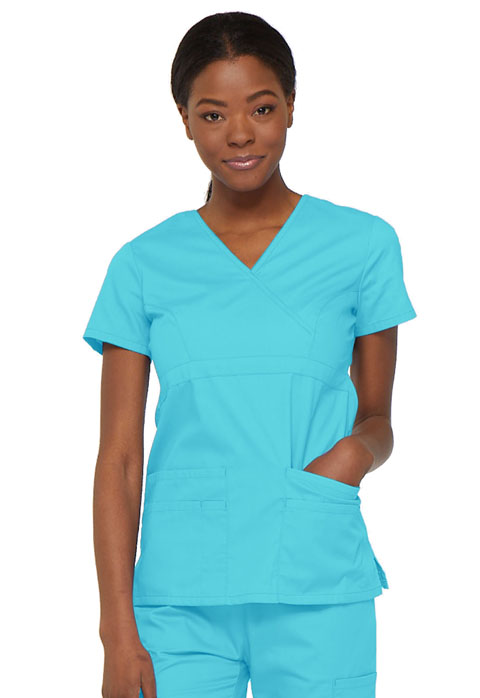 Dickies EDS Signature Mock Wrap Top in Turquoise