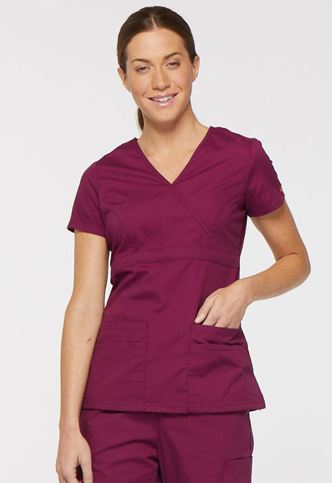 Dickies EDS Signature Mock Wrap Top in Wine