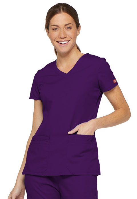 Dickies EDS Signature V-Neck Top in Eggplant