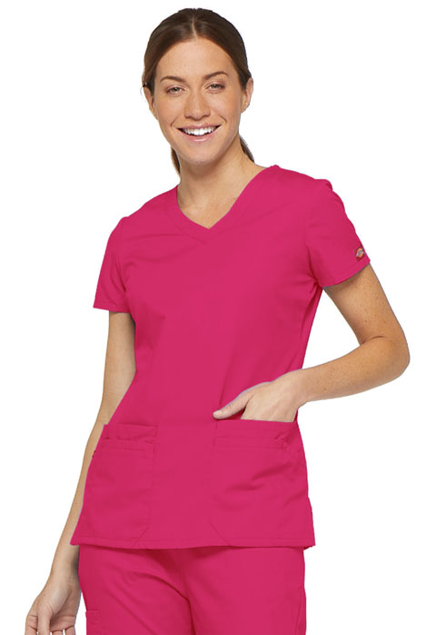 Dickies EDS Signature V-Neck Top in Hot Pink