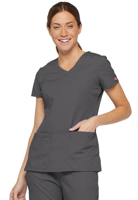 Dickies EDS Signature Women's V-Neck Top Gray