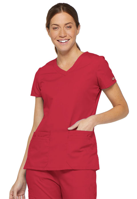 Dickies EDS Signature V-Neck Top in Red