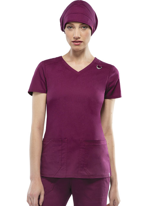Dickies Dickies EDS Signature Stretch Women's V-Neck Top Red