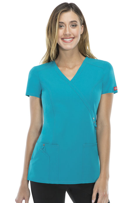 Dickies Xtreme Stretch Mock Wrap Top in Teal