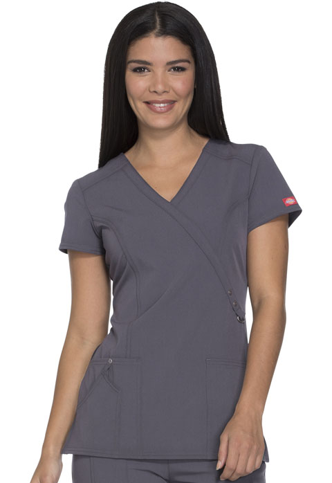 Dickies Xtreme Stretch Mock Wrap Top in Lt. Pewter