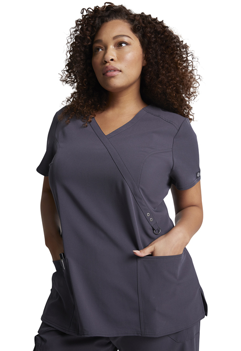 Dickies Xtreme Stretch Mock Wrap Top in Pewter