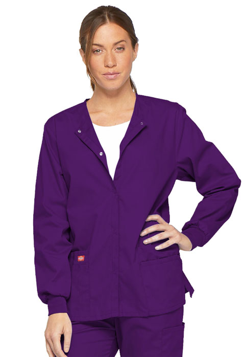Dickies EDS Signature Snap Front Warm-Up Jacket in Eggplant
