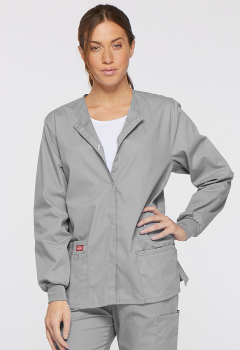 Dickies EDS Signature Snap Front Warm-Up Jacket in Grey