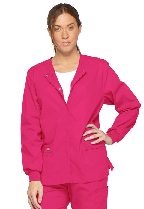 Dickies EDS Signature Snap Front Warm-Up Jacket in Hot Pink